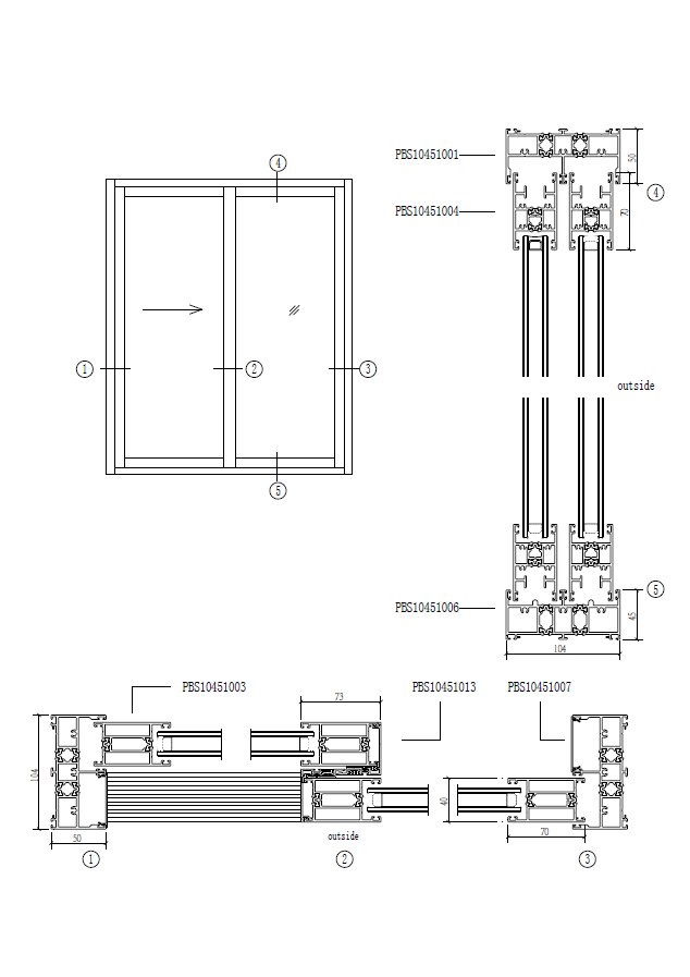 thermal broken awning windows frame details